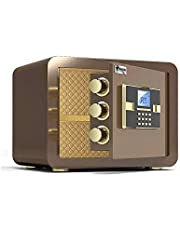 MDHDGAO Digital Electronic Safe Box for Home Office Security, Steel Construction with Electronic Keypad Lock, Key, for Hotel Business Jewelry Cash Use Storage (Color : Coffee Gold)