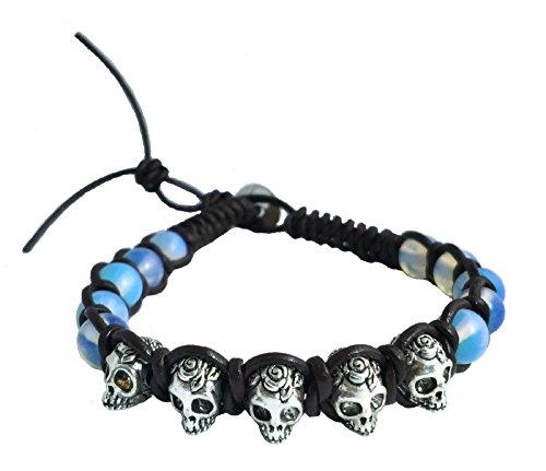 Moonstone Skull Bracelet Leather Weaven