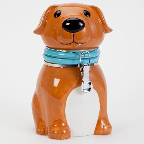 Bits and Pieces - Buddy Dog Ceramic Cookie Jar - Classic Decorative Kitchen Treat Jar