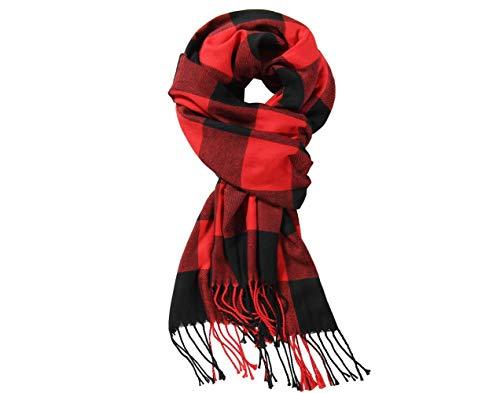 "(Christmas Red Black Buffalo Plaids Scarf,Unisex Classic Tartan Soft Cashmere Feel Winter Plaid Scarf 12""x72"")"