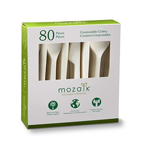 Mozaik Eco-Friendly Plant-Based Compostable Cutlery Set, 80 pieces