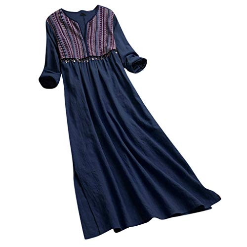 Women's Casual Loose Floral Long Dress Summer Long Sleeve Striped Swing V-Neck Dresses Navy