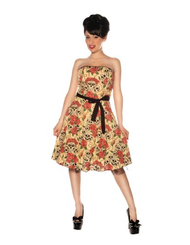 Folter Clothing STRAPLESS FOREVER YOURS DRESS in Skull Rose Tattoo Flash Print- Large