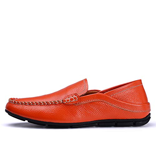 Ofgcfbvxd Scarpe On Dimensione 45 in Orange Mocassini da barca Flat Marrone barca Mocassini Color Casual da Slip pelle Men's Flat EU rOSUqTr