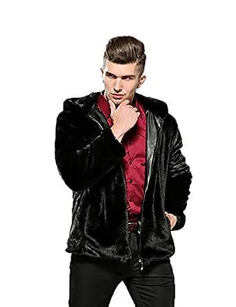 Fhillinuo Mink Mens Faux Fur Coat Outerwear Winter Jacket