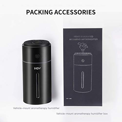 HGV Car Aromatherapy Humidifier, Car Diffuser, USB Essential Oil Diffuser Ultrasonic Car Humidifier Aromatherapy Diffusers with Intermittent/Continuous Mist for Office Travel Home Vehicle (Black)