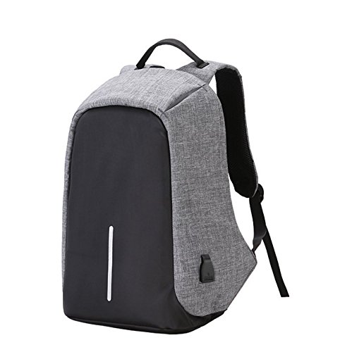 New Fashion Mens Bag (Waterproof Backpack with Zipper and USB Charge Port - Anti-Theft Large Capacity Rucksack for MacBook Laptop, iPad or Other Accessories - Ideal for Outdoor Travel, Hiking, Business Trip, Free USB Cable)
