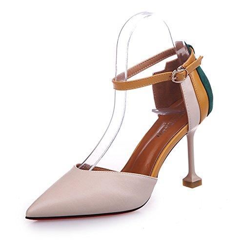 unie Couleur Pour De Avec Une Femmes Haut Talon SHOESHAOGE D'Été Chaussures Mot Boucle Mode Fille Creux Sandales BcqgUHw