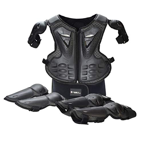 Body Armor Full (Takuey Kids Motorcycle Motorbike Full Body Armor Protective Gear Equipment Chest Spine Back Protector Shoulder Arm Elbow Knee Protector Pads for Motocross Racing Skiing ICE Skating Bike Cycling)