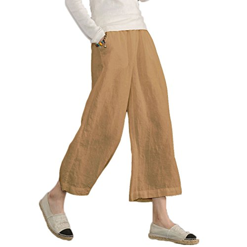 (Ecupper Womens Casual Loose Plus Size Elastic Waist Cotton Trouser Cropped Wide Leg Pants Yellow 18-16W )