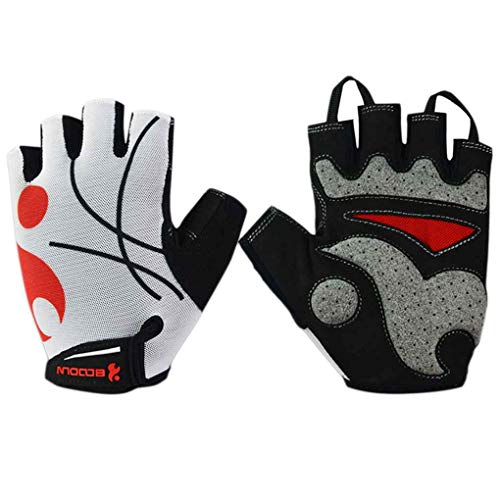 Men Women Cycling Gloves Half Finger Gel Bike Gloves Anti-Slip Mesh Cloth Breathable Mitten for BOODUN