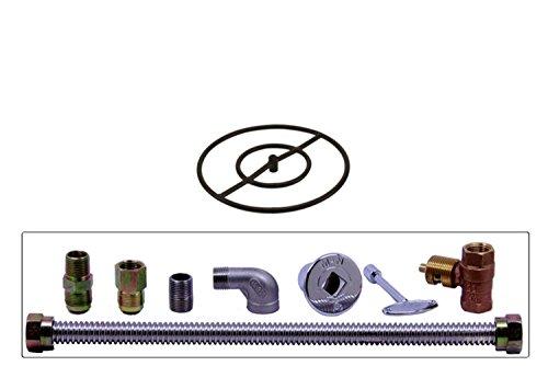 Burner Kit Iron (Spotix HPC Round Fire Pit Burner Kit (FP18KIT-LP-MSCB), 18-Inch Burner, Match Light, Cold Rolled Steel, Propane)