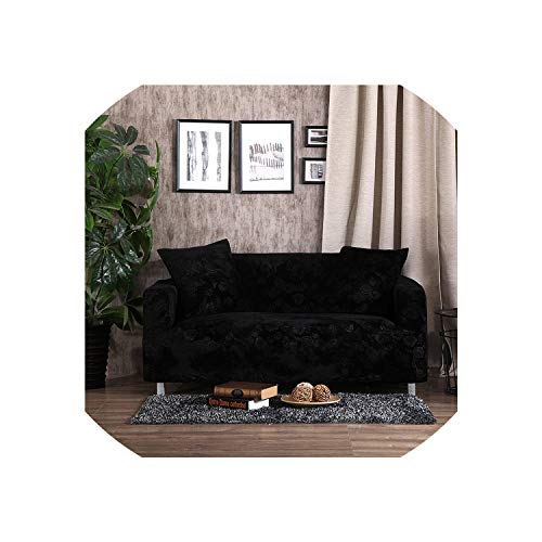 Jacquard Thick Velvet Sofa Covers Universal Stretch Elastic Couch Slipcovers Sectional Sofa Covers Plush Warm 1/2/3/4 Seater,Black,4 Seater (Cover Sofa Camelback)