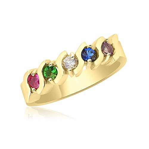 10K Yellow Gold Beautiful Ring – 5 Birthstone Family Ring by Ice Gold Jewellery Inc