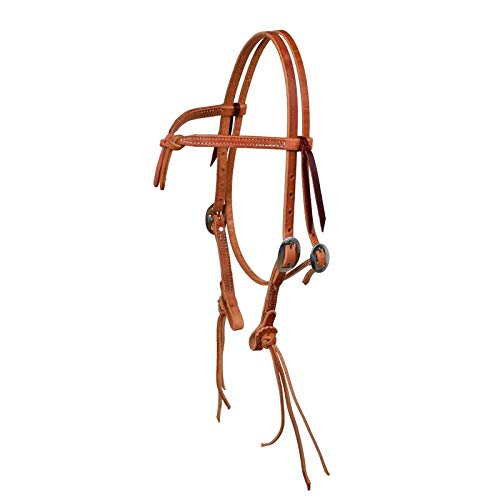 Horse Amish Western USA Hermann Oak Rattlesnake Knotted Headstall 975H1205 ()