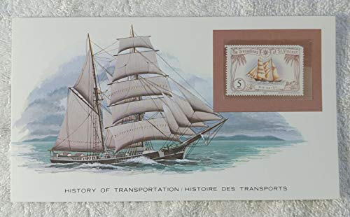 - Brig Daisy - Postage Stamp (Saint Vincent and the Grenadines, 1982) & Art Panel - The History of Transportation - Franklin Mint (Limited Edition, 1986) - Sailing Ship, Brigantine