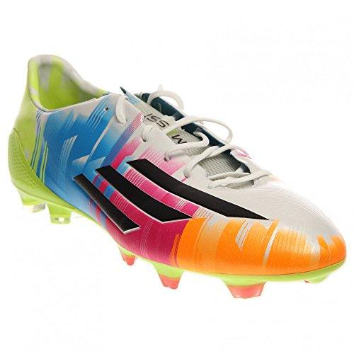 Adidas F50 adiZero TRX FG Messi Soccer Cleat - Running White/Black/Solar Slime - Mens - 8.5