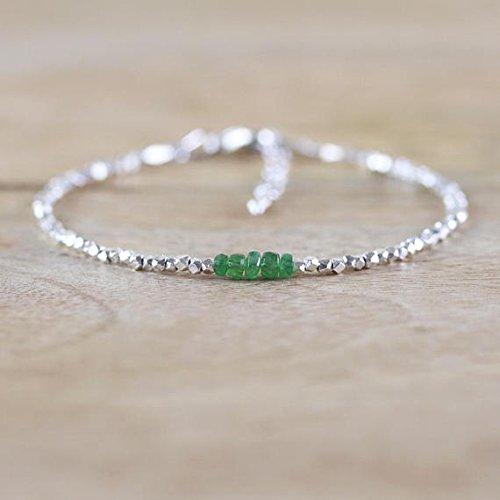 Tribe Silver 3mm (JP_Beads Tsavorite Garnet, Sterling & Karen Hill Tribe Silver Plated Bracelet. Green Gemstone Jewelry. Dainty Beaded Stacking Bracelet. Delicate Jewellery 3mm)
