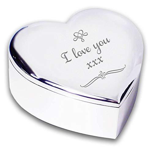 I Love You acabado en plata Swirl joyero caja regalos Ideas ...