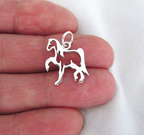 Pendant Jewelry Making/Chain Pendant/Bracelet Pendant Sterling Silver Western Style Horse Outline Satin Finish Charm #04