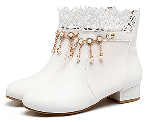 Rhinestones Lace Chunky Low IDIFU Dressy Women's Pull With Heel On Ankle White Spliced Boots EwqR7w