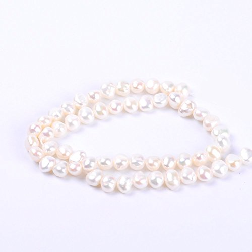 (White Round Irregular Natural Freshwater Pearl Loose Beads For Jewelry Making (6-7MM White))