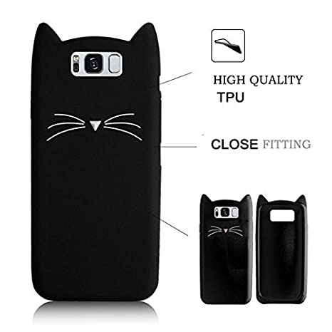 SevenPanda Silicone Cases for Samsung Galaxy Grand Prime G530, 3D Cat Design Cartoon Cute Cat Protective TPU Case with Anti Scratch Scratchproof Protective Shockproof Case - Black G530-HuXuMao-Hei
