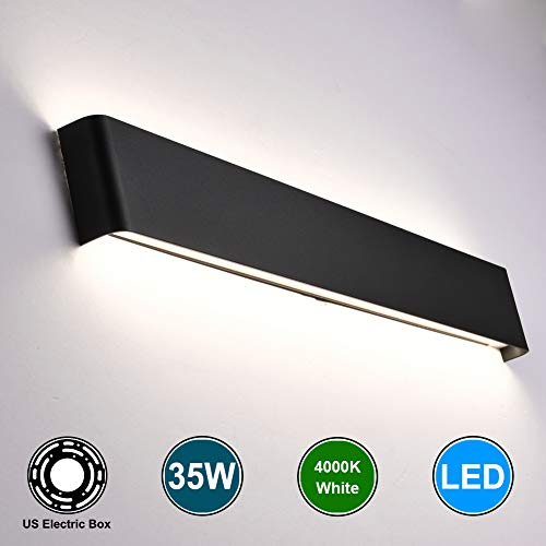 Aipsun 35W / 43.3in Rectangular LED Wall Mount Sconce Modern Up and Down Wall Lamp for Indoor Vanity Bar Light Pathway Staircase Bedroom Bathroom Living Room Lighting Fixtures(Black,White)