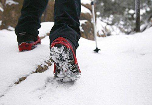 Griffe 13 Zähne Krallen Steigeisen Rutschfeste Universal Stretch Schuhe Abdeckung Edelstahl Kette Outdoor Ski Eis Schnee Wandern Klettern (2 Stück),Black-L Black-L