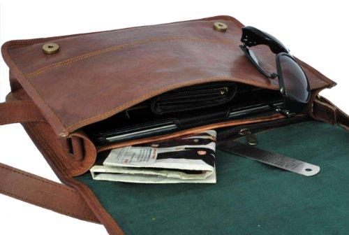 Rustic Town Men's Leather Messenger Laptop Bag
