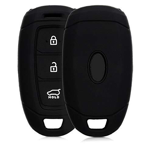 kwmobile Car Key Cover for Hyundai - Silicone Protective Key Fob Cover for Hyundai 3 Button Car Key Keyless Go - Black