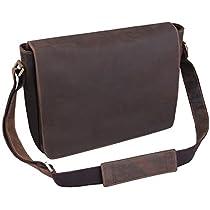 Jack&Chris® Leather Mens Backpack Laptop Bag Messenger Shoulder Bag, HS14017