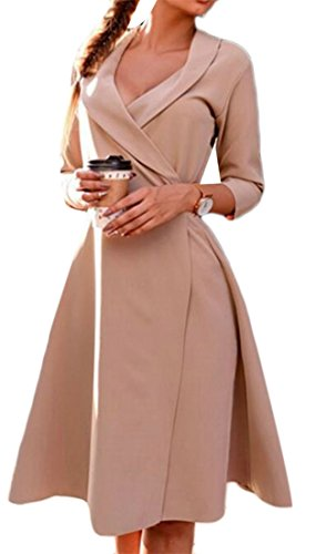 Cruiize Sleeve Solid A Half Midi Dress Neck Apricot Basic Color Womens Line V rCt1wqrY