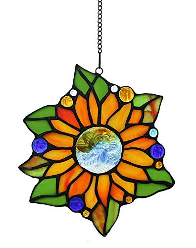 (Alivagar Stained Glass Window Hangings Suncatchers Sunflower, 6 1/2