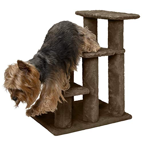 FurHaven Pet Stairs | Steady Paws 3-Step Pet Stairs, Brown (Renewed) ()