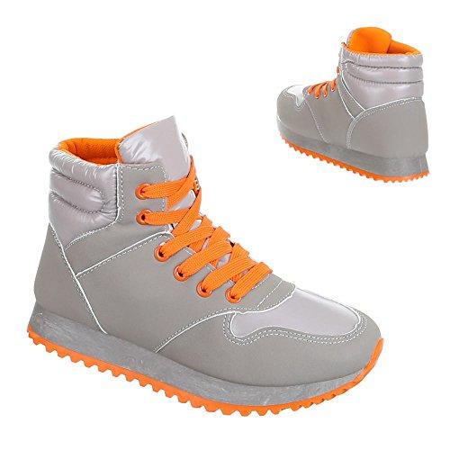 Ital-Design - Zapatillas de Material Sintético para mujer Naranja - Orange Grau