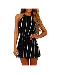 ASERTYL Rompers for Women Striped Off-Shoulder Loose Short Sleeve Jumpsuit Rompers Summer Short Casual Playsuit