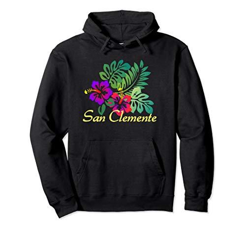 San Clemente Beach Tropical Flower Surf Vacay Pullover Hoodie (San Clemente Flowers)