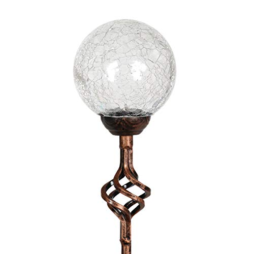 - Exhart Solar Clear Cracked Crystal Ball Metal Finials Yard Stake - Glass Ball Metal Stake w/Solar LED Outdoor Lights, Glass Globe Metal Artwork, Glass Orb Metal Ground Stake, 3.5