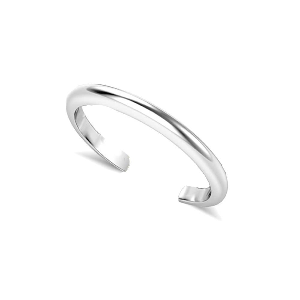 LOVVE Sterling Silver Plain Basic Polished Toe Ring, 3 Metal Options