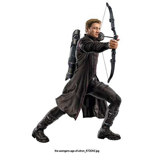 Avengers Age of Ultron, Hawkeye Facing Right with Bow Drawn on White Background 8 X 10 Inch Photo