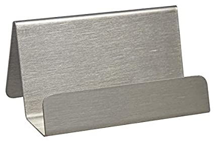 Visitenkartenständer Aus Gebürstetem Edelstahl Metall Matt Silber Visitenkartenhalter Schreibtisch Büro Zeigis