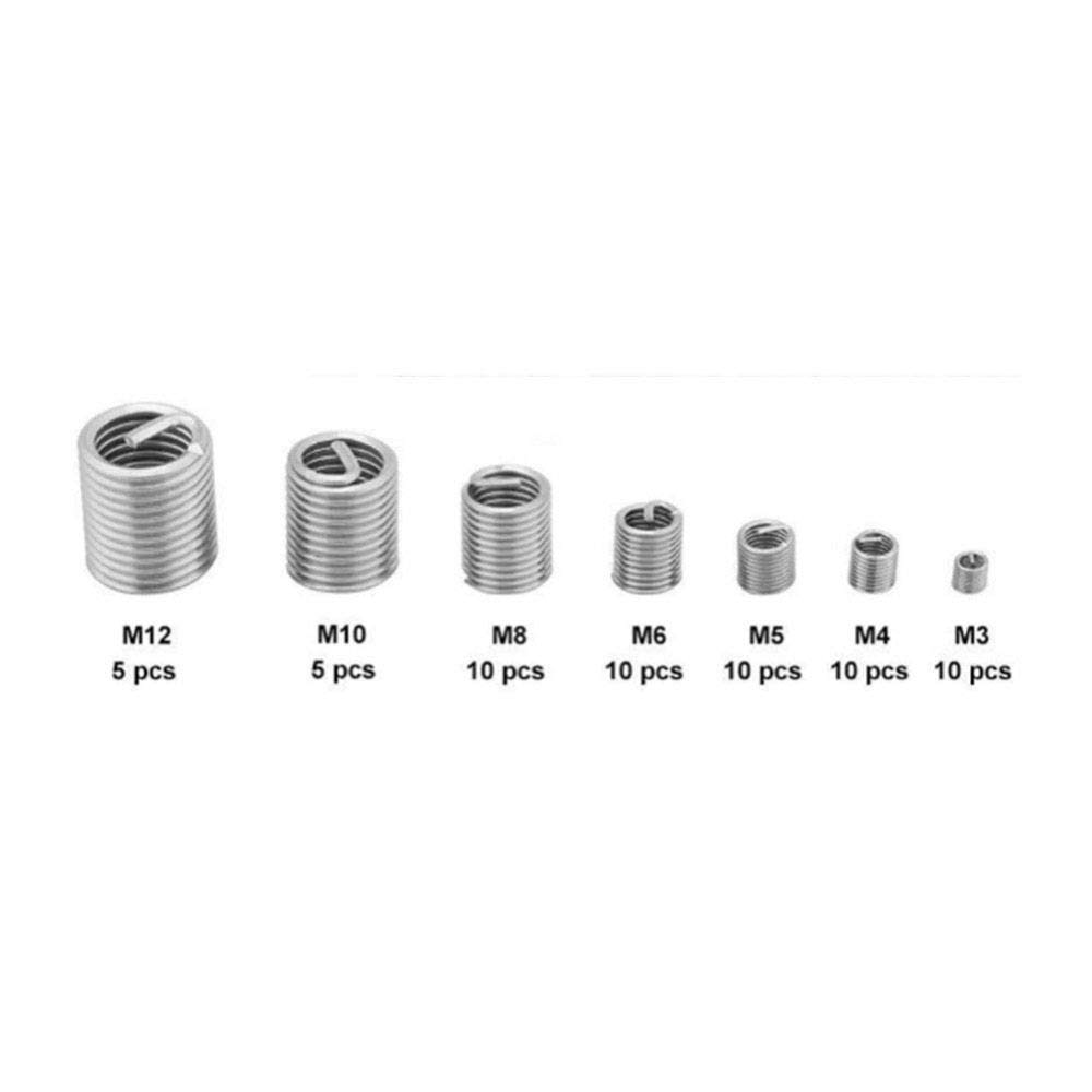 Ochoos 60pcs Silver M3-M12 Thread x D2 Repair Insert Kit Set Stainless Steel Screw Coiled Helicoil Assortment Kit Protective Casing