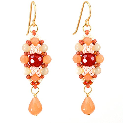 Moonstone and Carnelian Earrings Artisan Crafted in 14K Gold Filled; One of a Kind