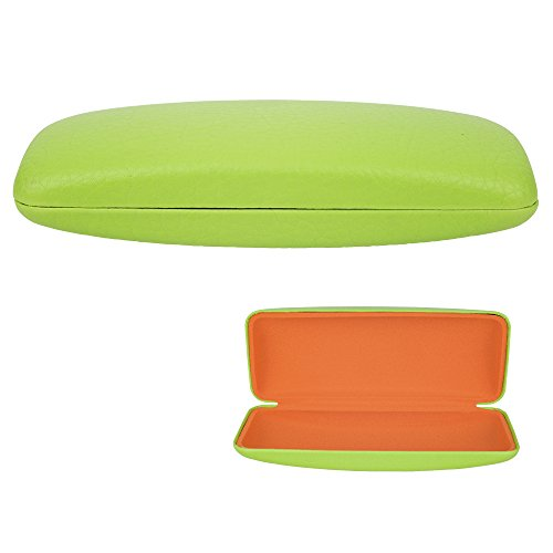 Kids Eyeglass Case – Protective Hard Holder for Children's Sized Sunglasses, Glasses and Eyewear Frames - Sturdy, Lightweight and Fun - Lime Green with Orange Interior - By - Lime Green Eyeglasses