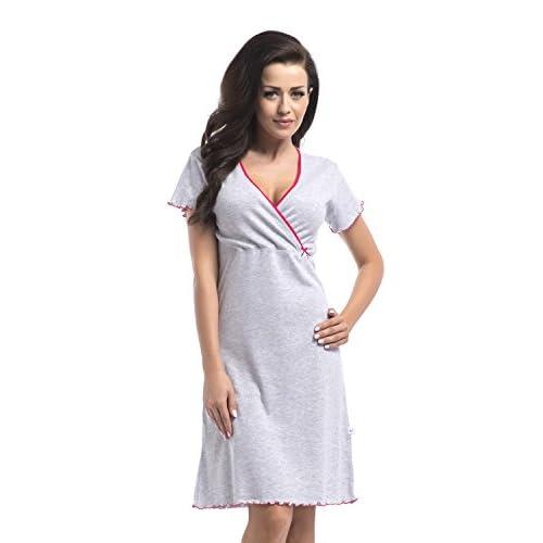 1eb114b1897a88 dn-nightwear Damen Umstandsnachthemd/Still-Nachthemd aus 100%  Baumwolle/Kurzarm Grey