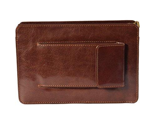 Echtes Leder Handgelenk Clutch Bag Wristlet Geld Organizer Tasche 'MONTREAL' Braun 24x15x5 cm