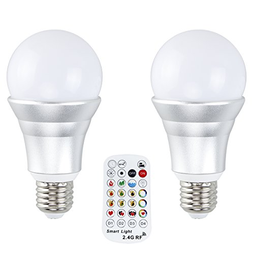 GOJEF 10W E26 RGB+W Color Changing Light Bulb with Bright Daylight White,Pure White and 2.4G RF Wireless Remote Control for Working Reading Practical Application(2 pack) (Light Bulbs Pure White)