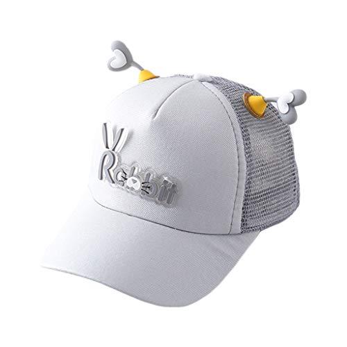 XIAO-WU Children Kid Cute Love Heart Antenna Baseball Cap Mesh Back Rubber Rabbit Letter Adjustable Summer Outdoor Snapback Sun Hat 2-8T - 5#Gray
