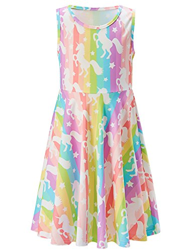 Goodstoworld Kid Girls Summer Casual Sleeveless Dresses Unicorn Print Pink Twirl Swing Dresses Elegant Beach Sundresses 8-9 - Twirl Summer Dress
